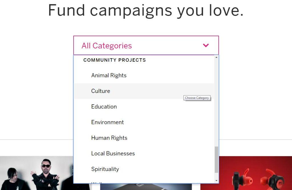 W porównaniu Kickstarter vs Indiegogo liczba kategorii przemawia za tym drugim portalem